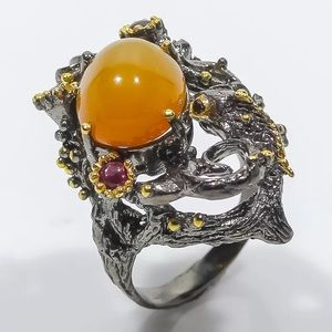 Jewelry - 🧡NATURAL OPAL•RHODOLITE•SPINEL RING•925 SS🧡